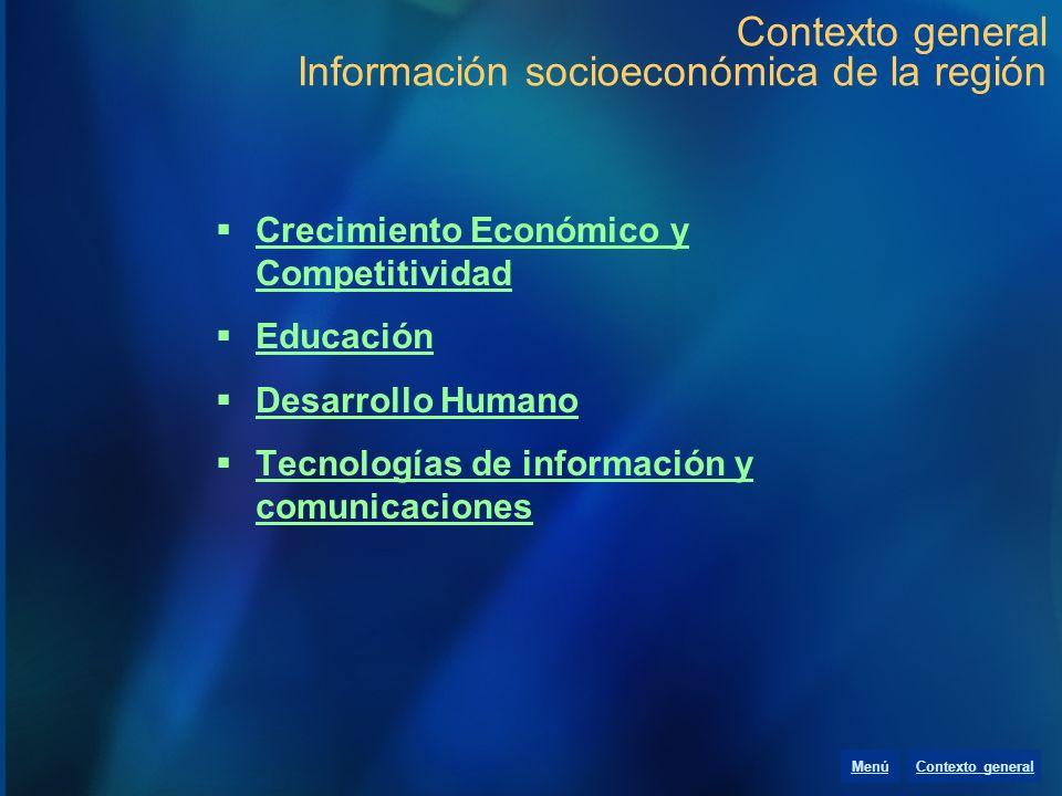 Contexto general Información socioeconómica de la región