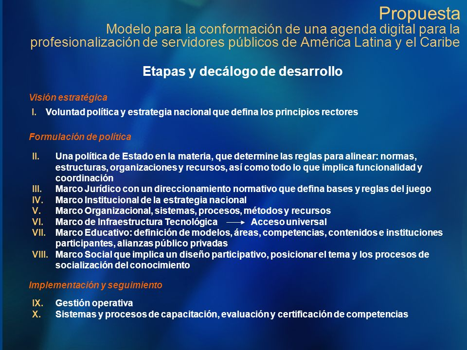 Propuesta Modelo para la conformación de una agenda digital para la profesionalización de servidores públicos de América Latina y el Caribe