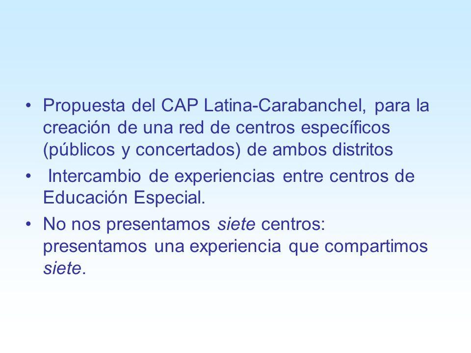 Propuesta del CAP Latina-Carabanchel, para la creación de una red de centros específicos (públicos y concertados) de ambos distritos