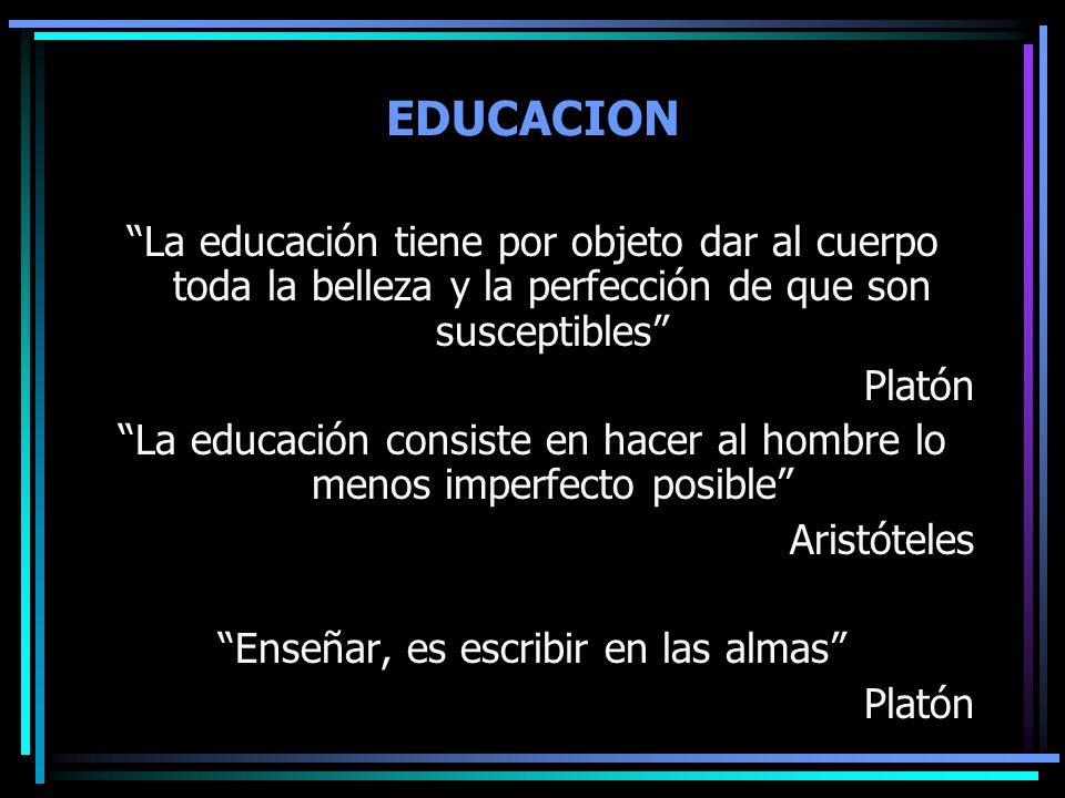 EDUCACION La educación tiene por objeto dar al cuerpo toda la belleza y la perfección de que son susceptibles