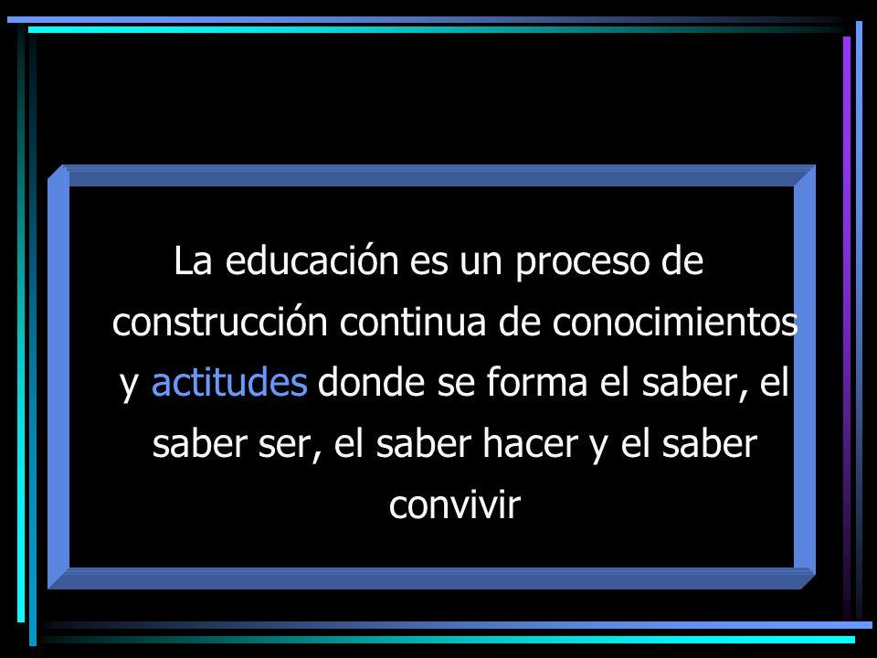 La educación es un proceso de construcción continua de conocimientos y actitudes donde se forma el saber, el saber ser, el saber hacer y el saber convivir