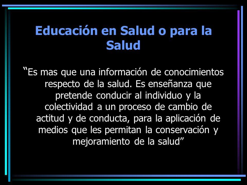 Educación en Salud o para la Salud
