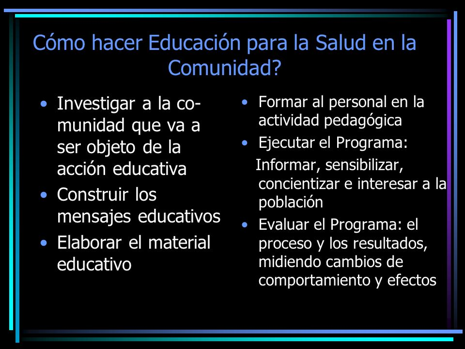 Cómo hacer Educación para la Salud en la Comunidad