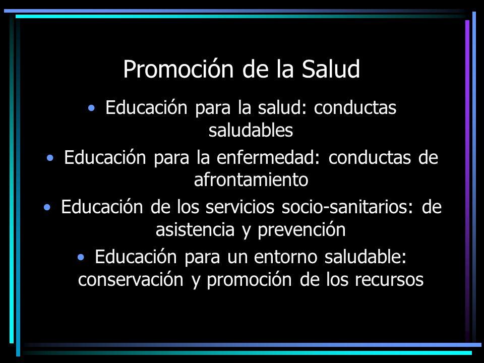 Promoción de la Salud Educación para la salud: conductas saludables