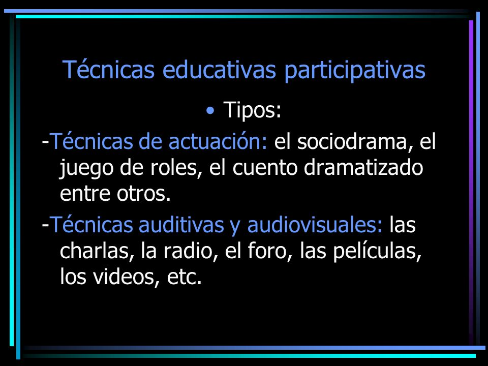 Técnicas educativas participativas