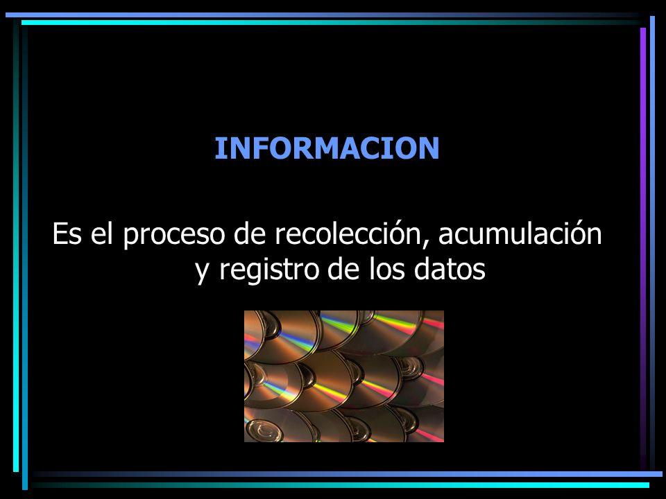 Es el proceso de recolección, acumulación y registro de los datos