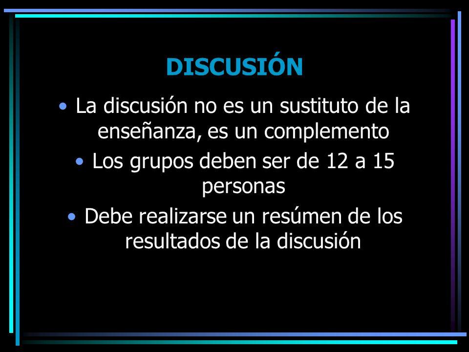 DISCUSIÓN La discusión no es un sustituto de la enseñanza, es un complemento. Los grupos deben ser de 12 a 15 personas.