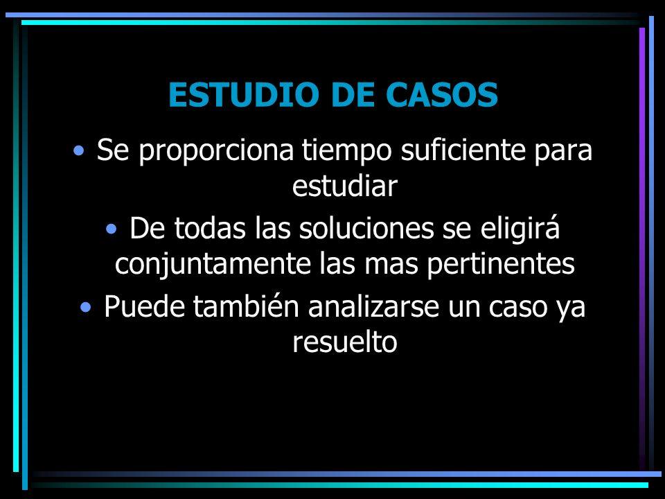 ESTUDIO DE CASOS Se proporciona tiempo suficiente para estudiar