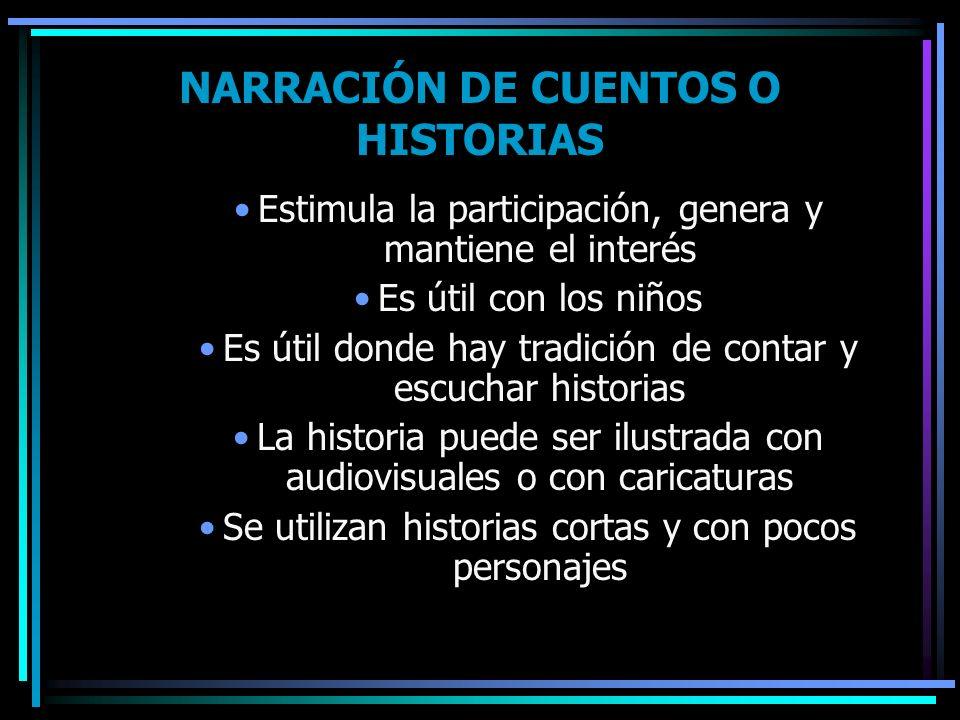 NARRACIÓN DE CUENTOS O HISTORIAS