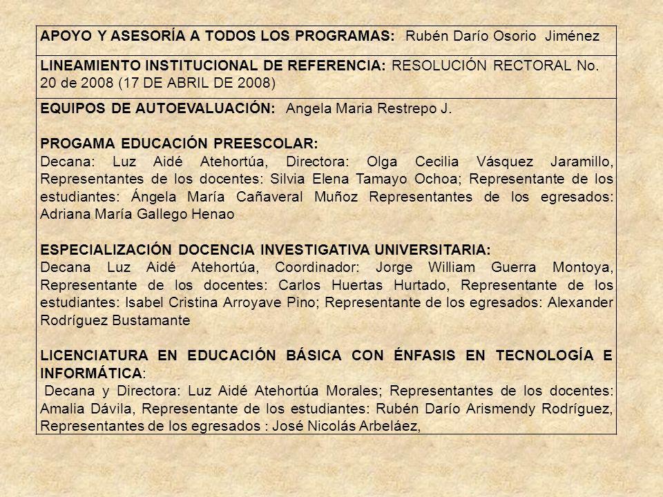 APOYO Y ASESORÍA A TODOS LOS PROGRAMAS: Rubén Darío Osorio Jiménez