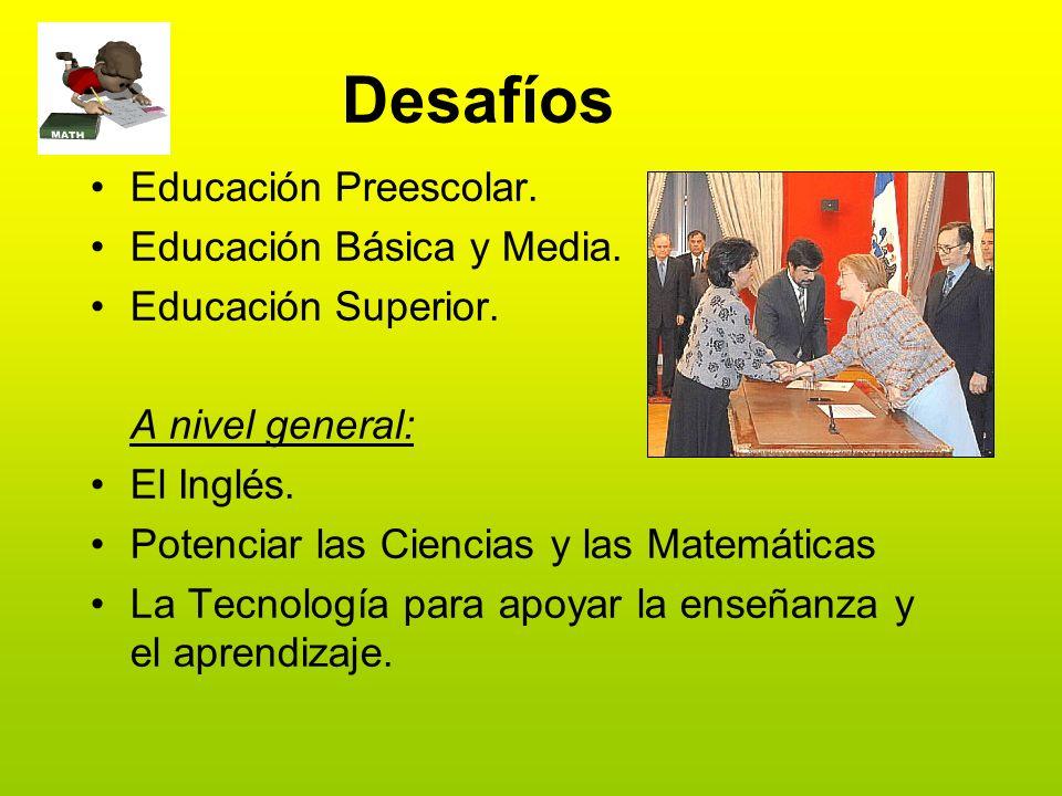 Desafíos Educación Preescolar. Educación Básica y Media.