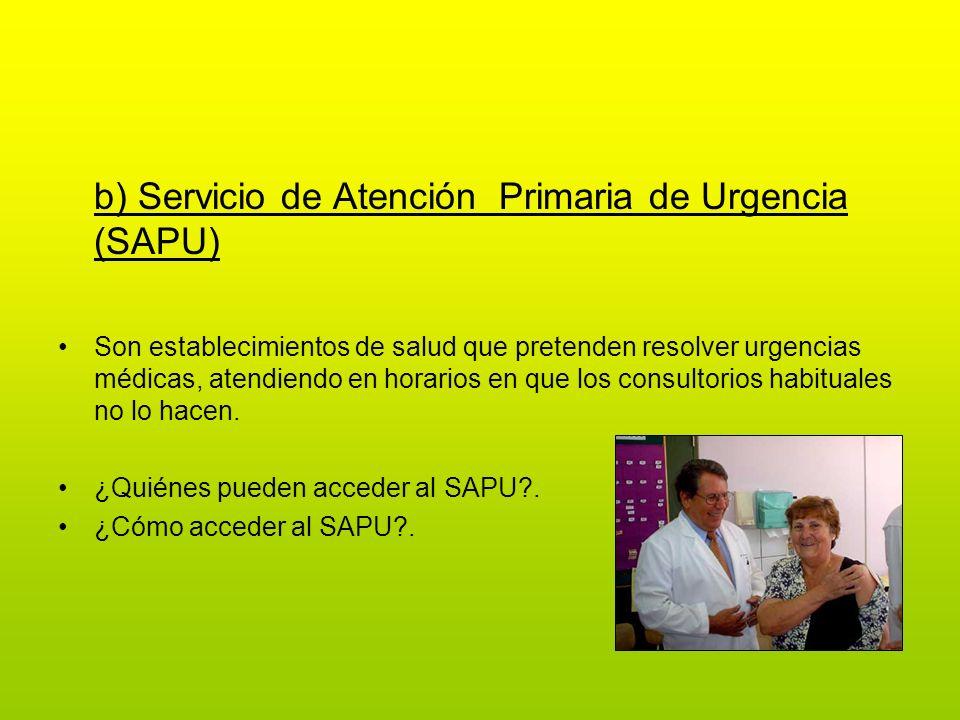 b) Servicio de Atención Primaria de Urgencia (SAPU)