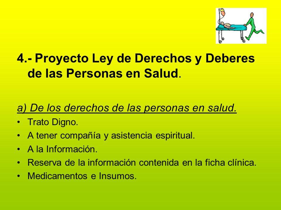 4.- Proyecto Ley de Derechos y Deberes de las Personas en Salud.