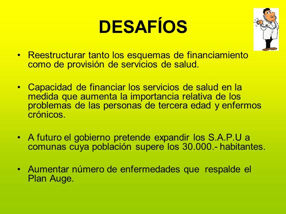 DESAFÍOS Reestructurar tanto los esquemas de financiamiento como de provisión de servicios de salud.