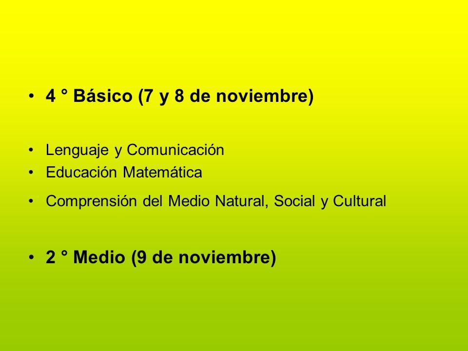 4 ° Básico (7 y 8 de noviembre)