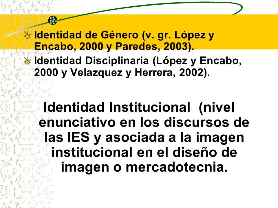 Identidad de Género (v. gr. López y Encabo, 2000 y Paredes, 2003).