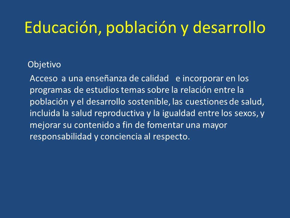 Educación, población y desarrollo