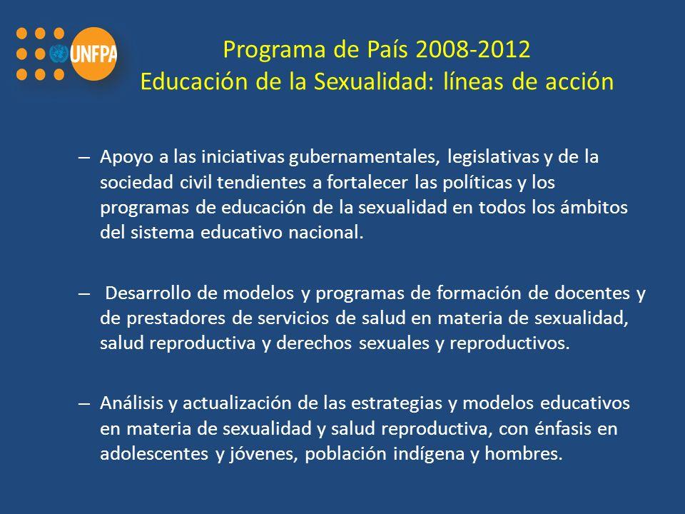 Programa de País 2008-2012 Educación de la Sexualidad: líneas de acción
