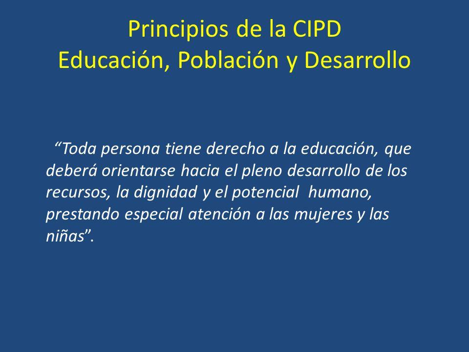 Principios de la CIPD Educación, Población y Desarrollo