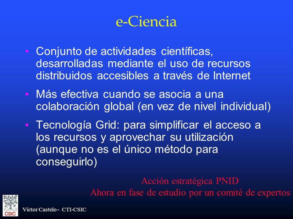 e-Ciencia Conjunto de actividades científicas, desarrolladas mediante el uso de recursos distribuidos accesibles a través de Internet.