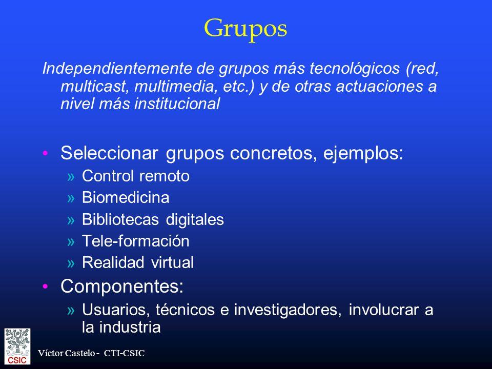 Grupos Seleccionar grupos concretos, ejemplos: Componentes:
