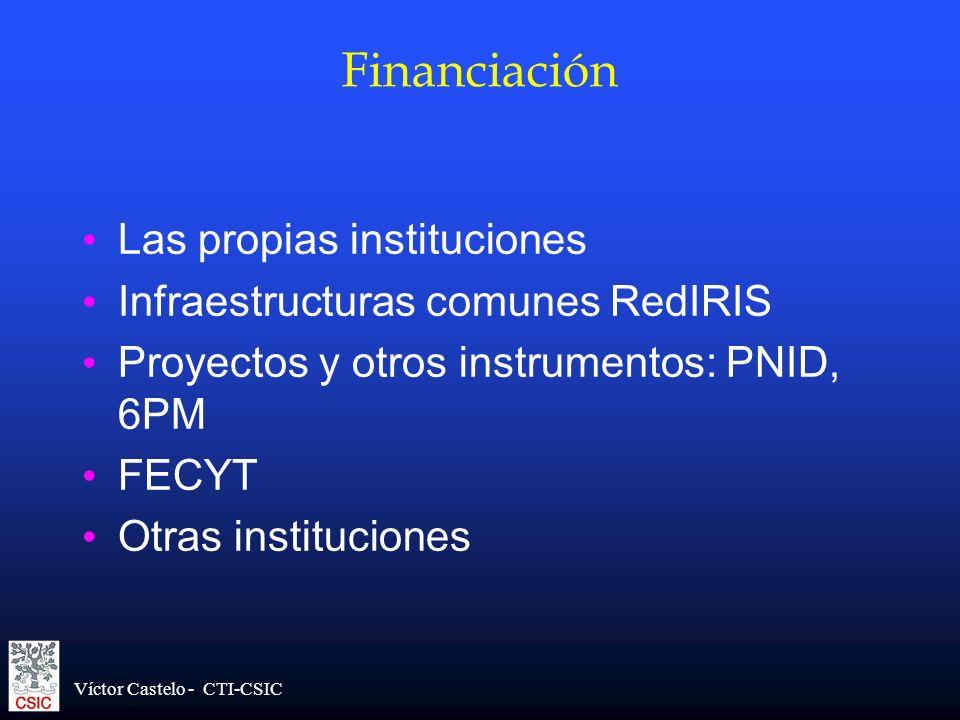 Financiación Las propias instituciones