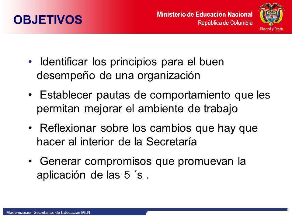 OBJETIVOS Identificar los principios para el buen desempeño de una organización.