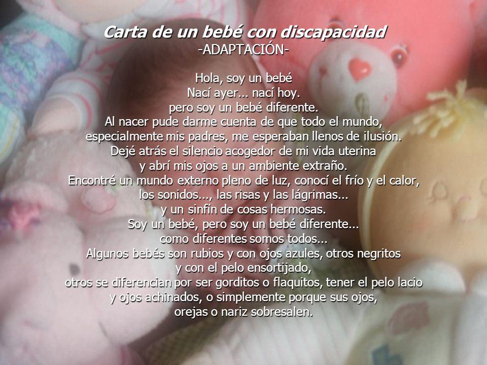 Carta de un bebé con discapacidad -ADAPTACIÓN-