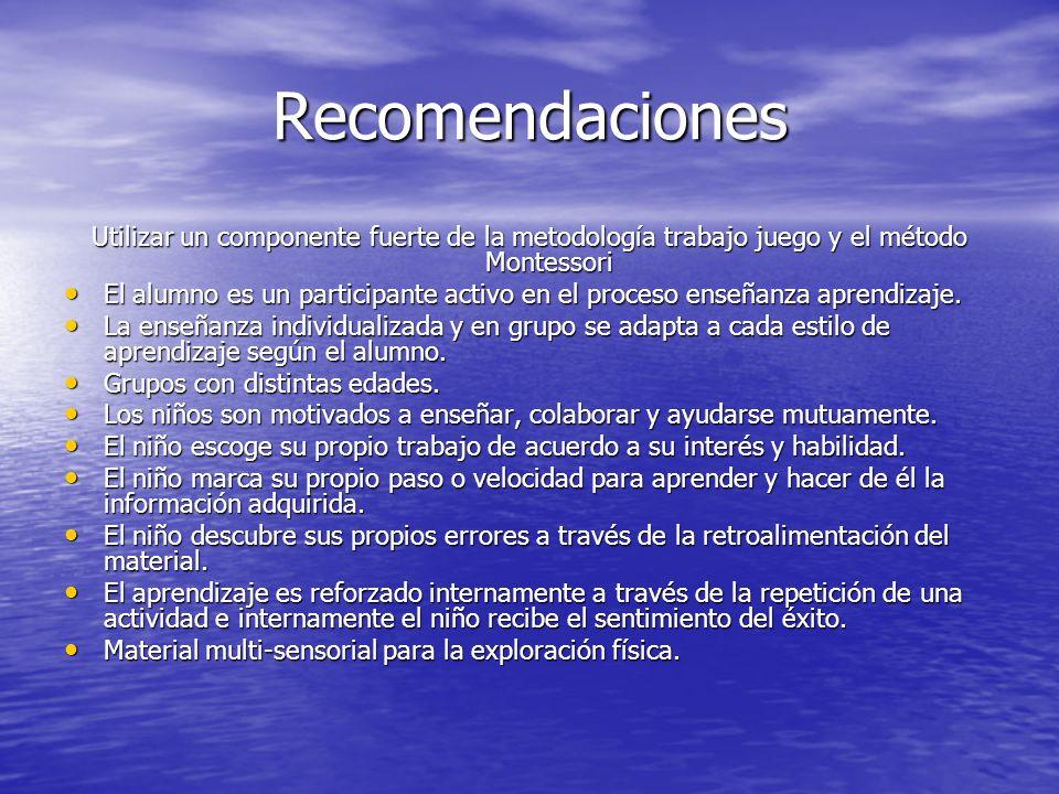 Recomendaciones Utilizar un componente fuerte de la metodología trabajo juego y el método Montessori.