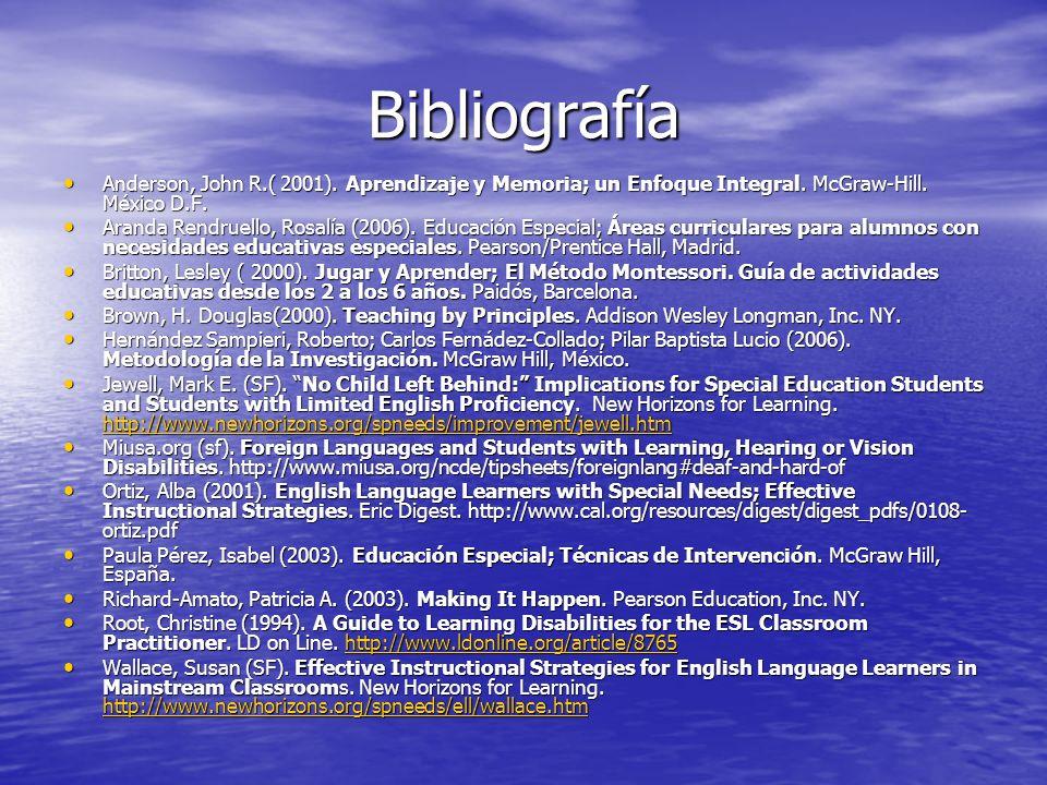 Bibliografía Anderson, John R.( 2001). Aprendizaje y Memoria; un Enfoque Integral. McGraw-Hill. México D.F.