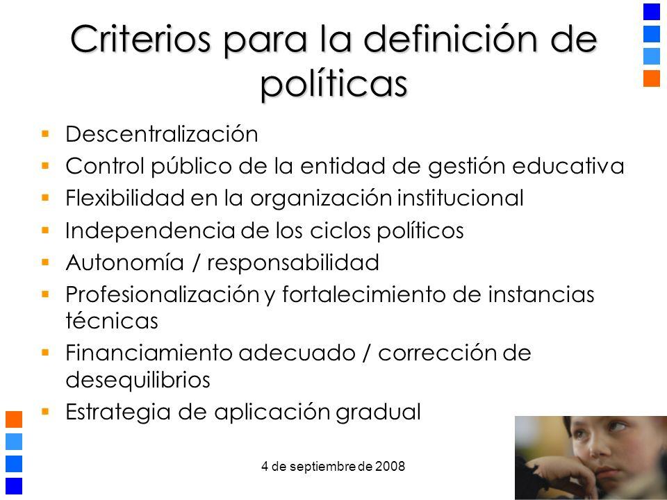 Criterios para la definición de políticas
