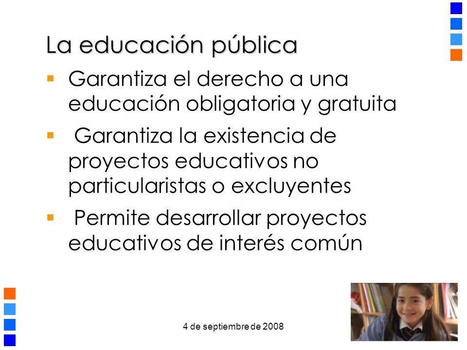 La educación pública Garantiza el derecho a una educación obligatoria y gratuita.