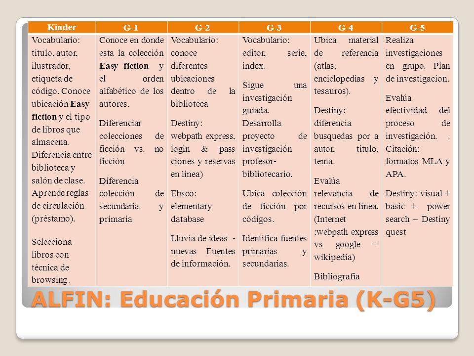 ALFIN: Educación Primaria (K-G5)