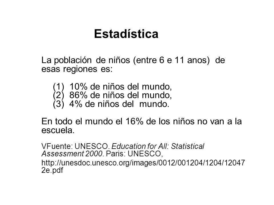 Estadística La población de niños (entre 6 e 11 anos) de esas regiones es: 10% de niños del mundo,