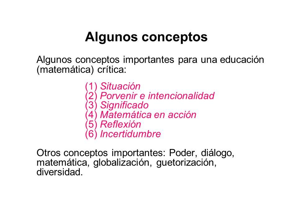 Algunos conceptos Algunos conceptos importantes para una educación (matemática) crítica: (1) Situación.
