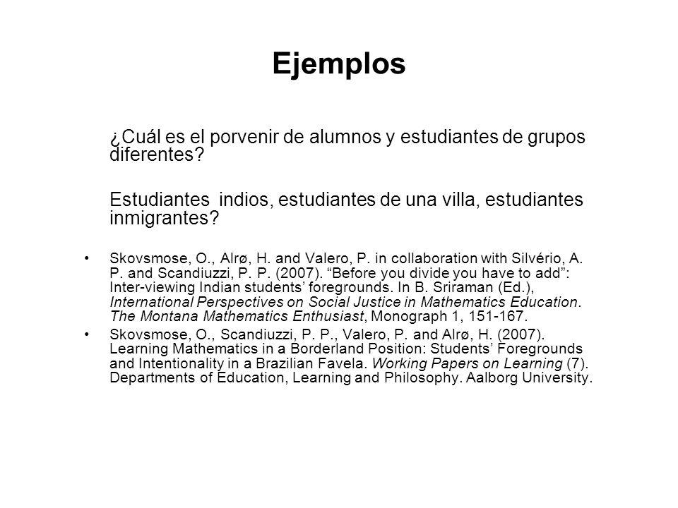 Ejemplos ¿Cuál es el porvenir de alumnos y estudiantes de grupos diferentes Estudiantes indios, estudiantes de una villa, estudiantes inmigrantes