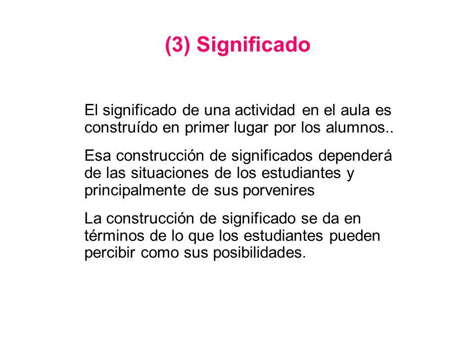 (3) Significado El significado de una actividad en el aula es construído en primer lugar por los alumnos..