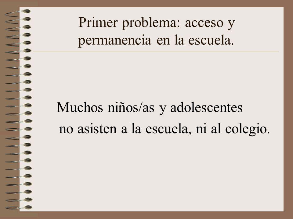 Primer problema: acceso y permanencia en la escuela.