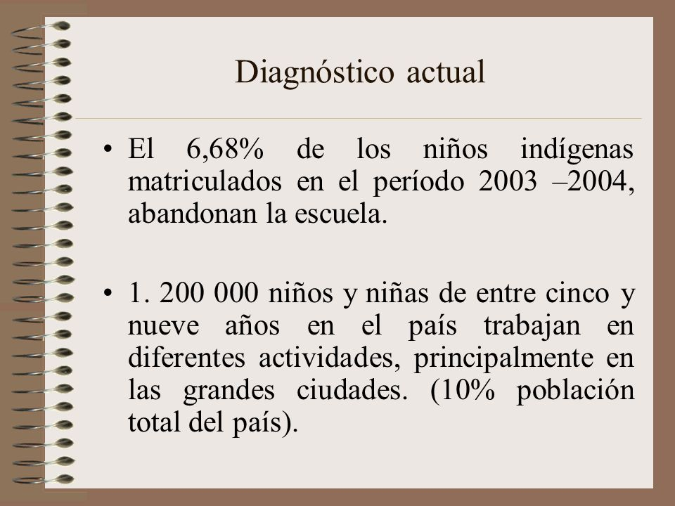 Diagnóstico actual El 6,68% de los niños indígenas matriculados en el período 2003 –2004, abandonan la escuela.