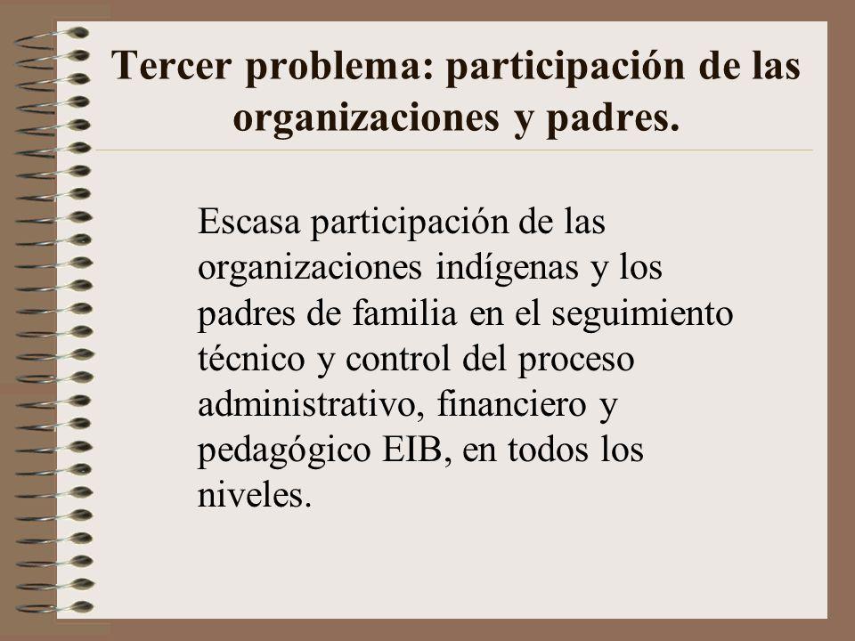 Tercer problema: participación de las organizaciones y padres.