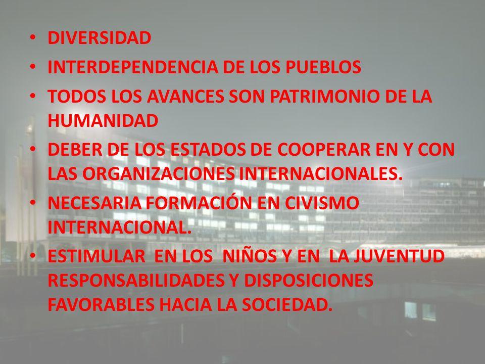 DIVERSIDAD INTERDEPENDENCIA DE LOS PUEBLOS. TODOS LOS AVANCES SON PATRIMONIO DE LA HUMANIDAD.