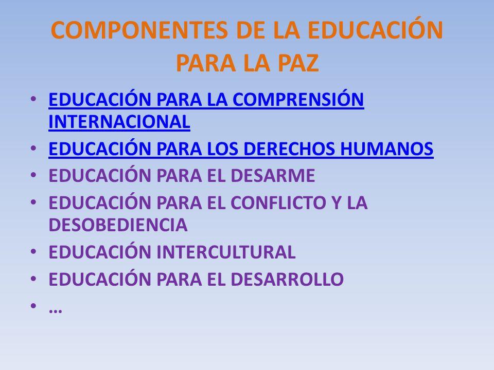 COMPONENTES DE LA EDUCACIÓN PARA LA PAZ
