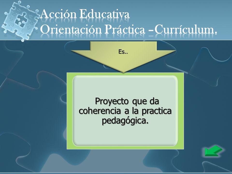 Proyecto que da coherencia a la practica pedagógica.