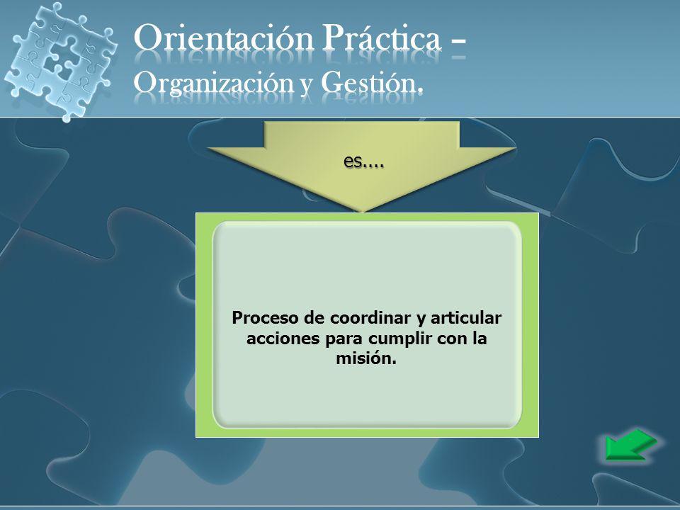 Proceso de coordinar y articular acciones para cumplir con la misión.