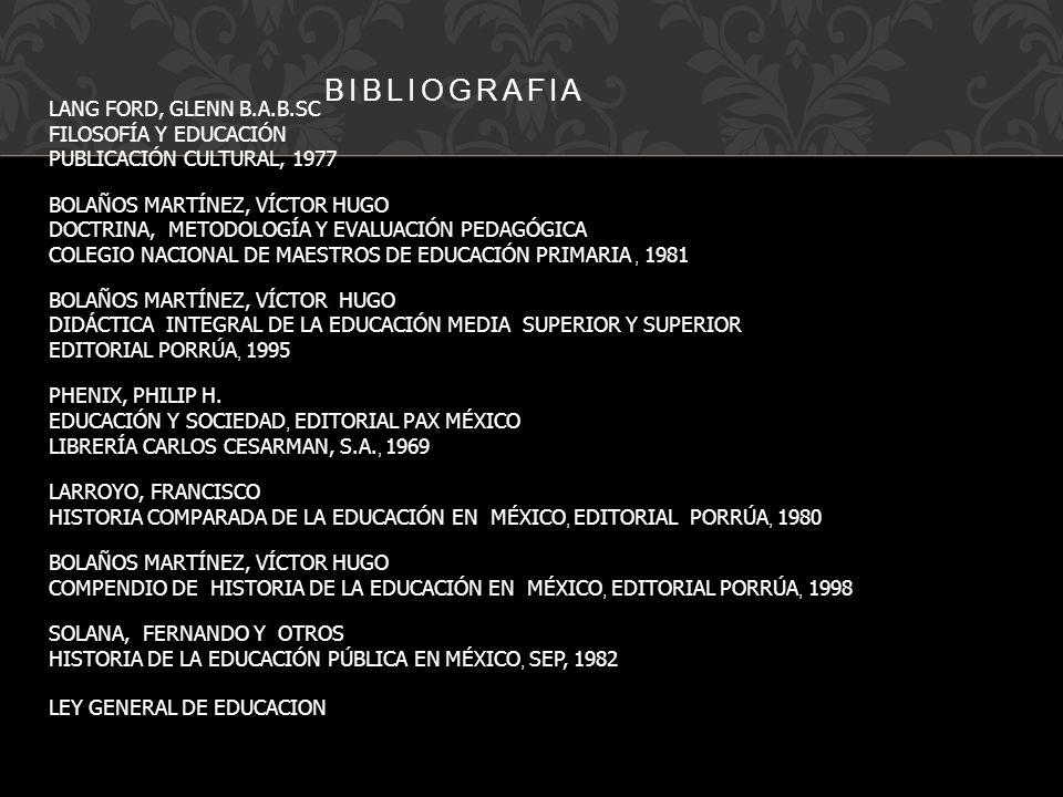 BIBLIOGRAFIA LANG FORD, GLENN B.A.B.SC FILOSOFÍA Y EDUCACIÓN