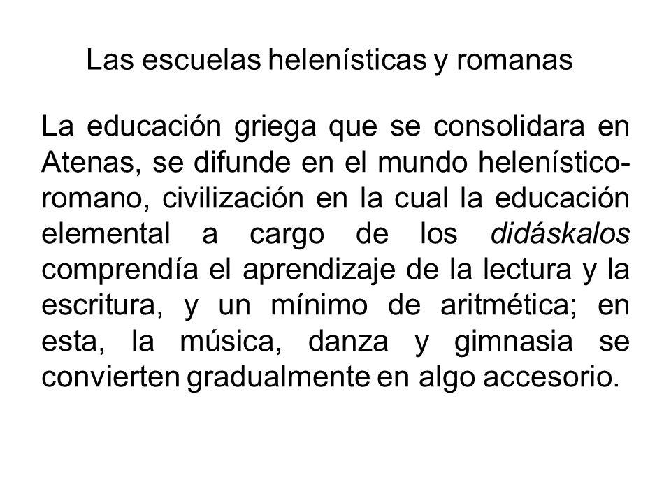 Las escuelas helenísticas y romanas