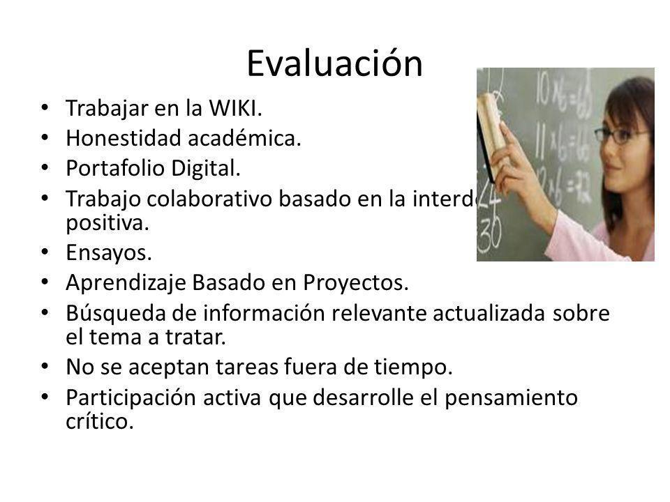 Evaluación Trabajar en la WIKI. Honestidad académica.