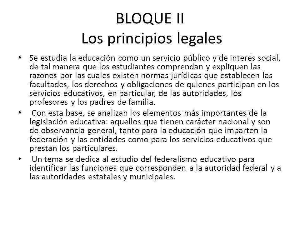 BLOQUE II Los principios legales