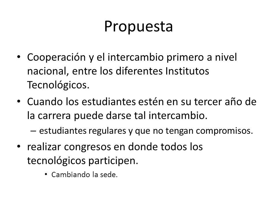 Propuesta Cooperación y el intercambio primero a nivel nacional, entre los diferentes Institutos Tecnológicos.
