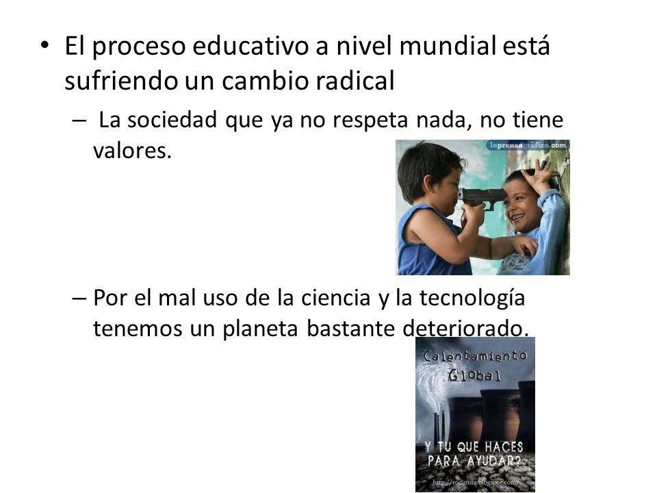 El proceso educativo a nivel mundial está sufriendo un cambio radical